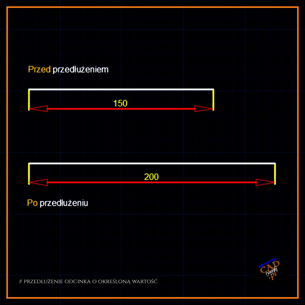 Przedłużamy linię o określoną wartość w programie AutoCAD.