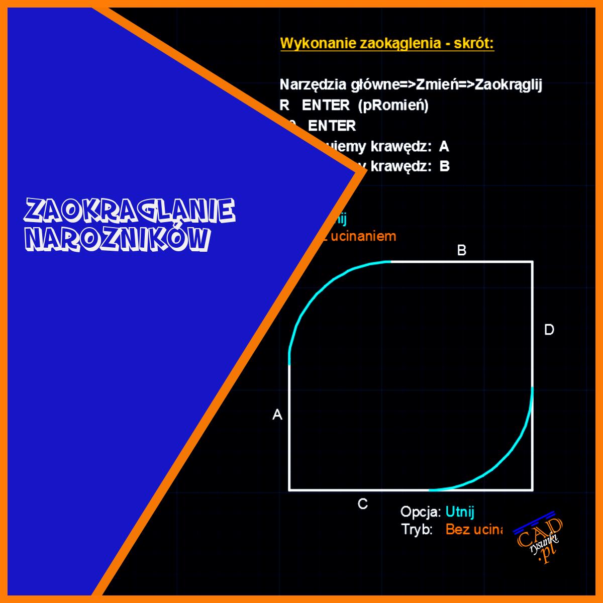 Zastosowanie metody zaokrąglenia narożników obiektu.
