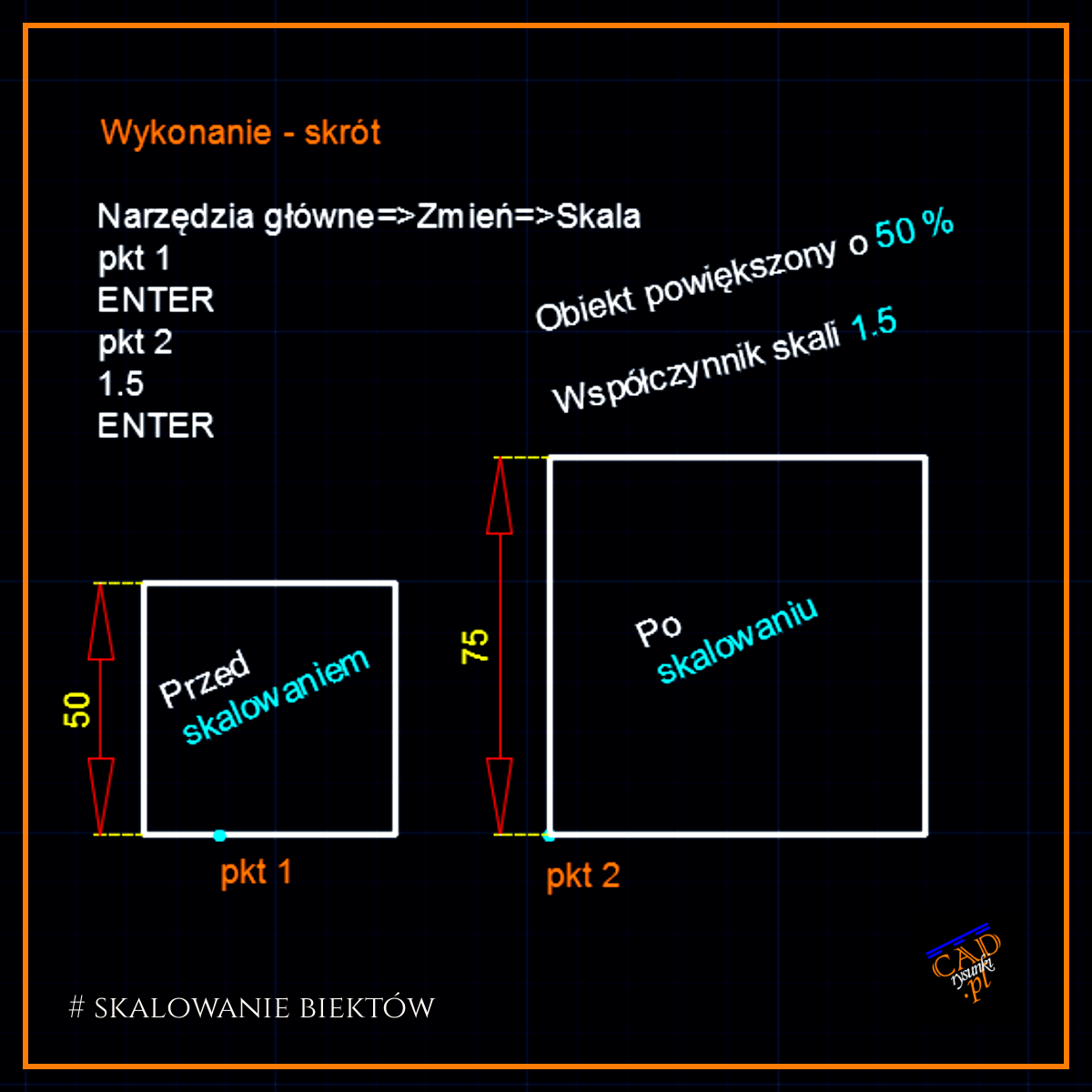 Opis wykonania krok po kroku jak wykonać skalowanie elementów w programie AutoCAD. Skalowanym obiektem jest kwadrat który został powiększony o 50%