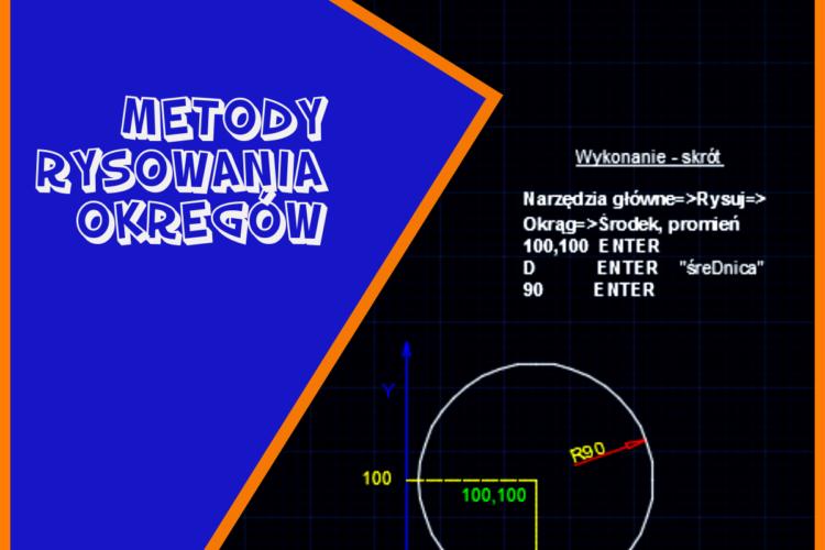 Ćwiczenie z programu AutoCAD o metodach rysowania okręgów.