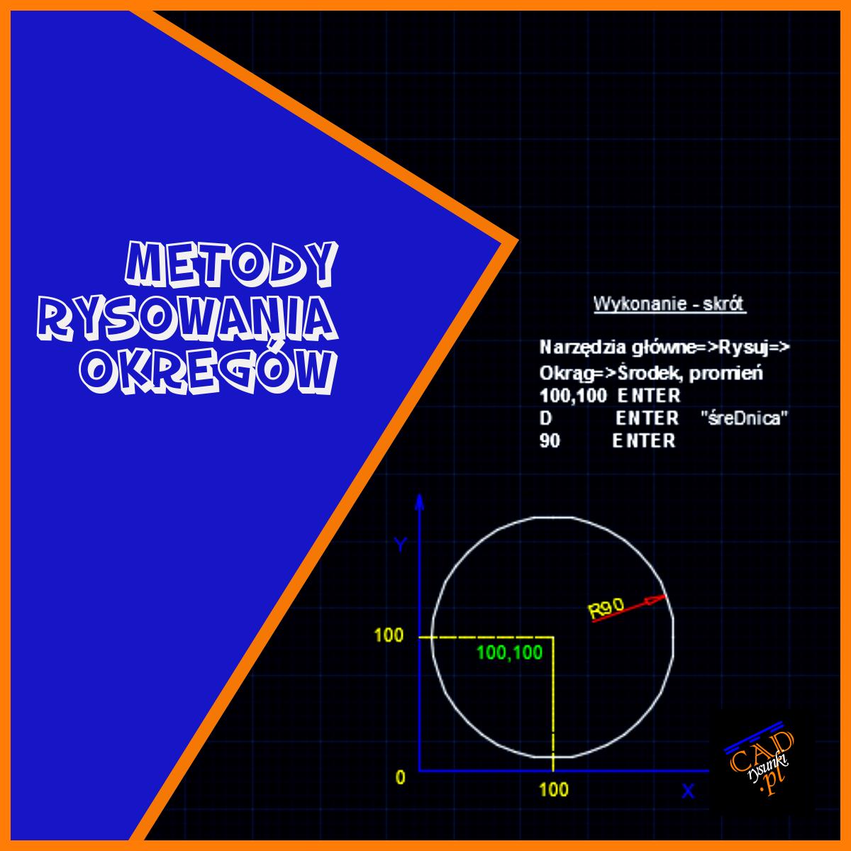 Okrąg w punkcie. Rysujemy okrąg o promieniu 90 umieszczony w punkcie 100,100. Wykonanie krok po kroku.