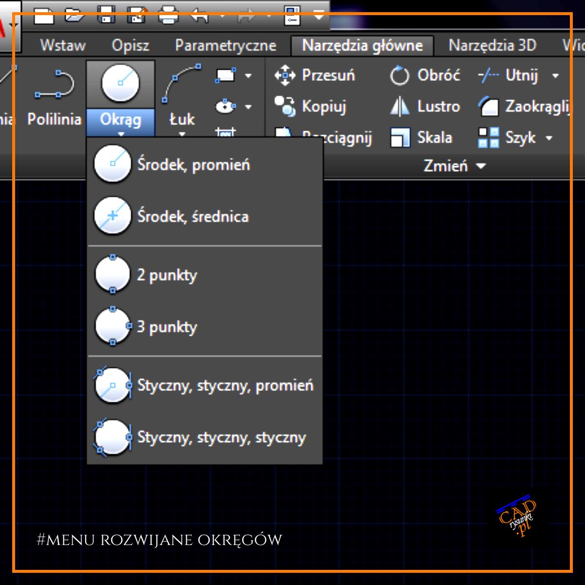 Wyszczególnienie opcjii jakie znajdują się w menu rozwijane narzędzia okrąg.
