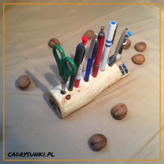 organizer na biurko drewniany