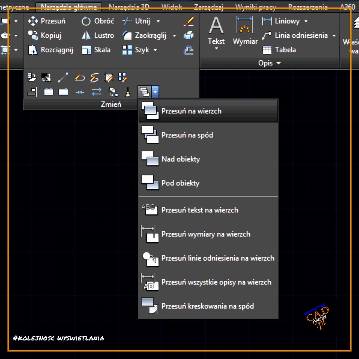 Okno wyboru opcji do nakładania się obiektów. Polecenie tekstnawierzch w programach typu cad.