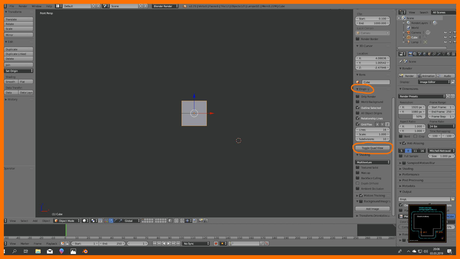 Nauka obsługi programu blender 3d - podział ekranu w pionie i poziomie