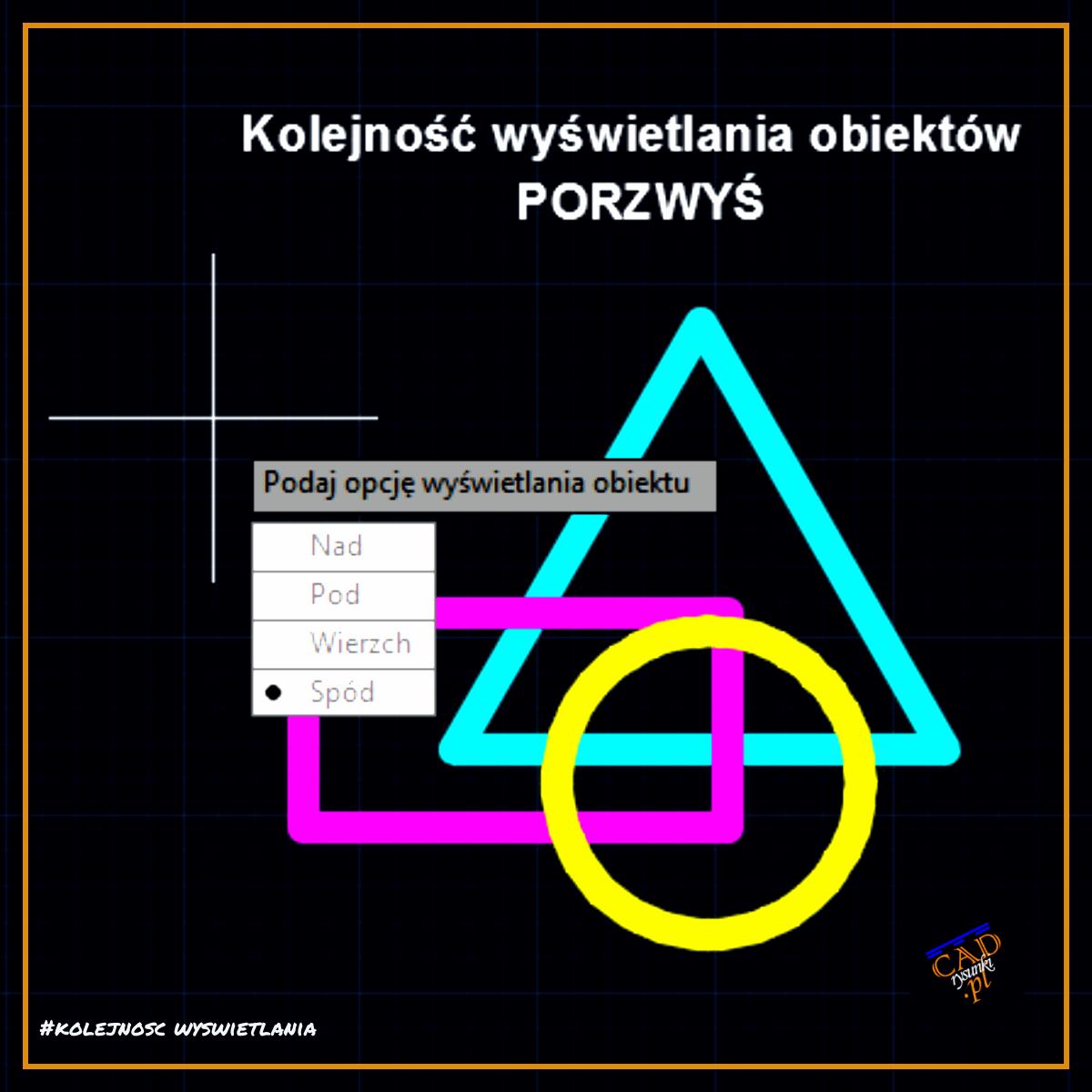Opcje wyboru w menu podręcznym po wpisaniu polecenia PORZWYŚ.. Za pomocą tego polecenia sterujemy kolejnością wyświetlania nakładających się obiektów.