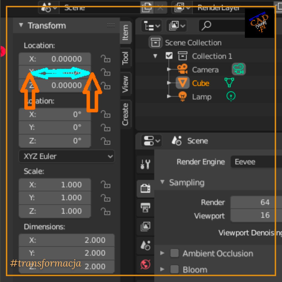 Transformacja i opcja rotation czyli obrót w programie blender 3d