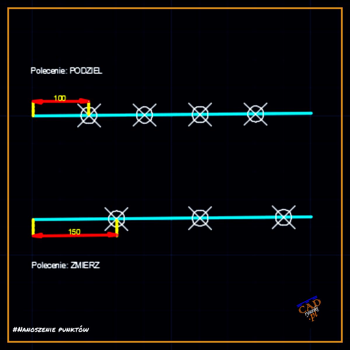 Funkcja podziel zmierz dzieli odcinek na części nanosząc jednocześnie punkty podziału.