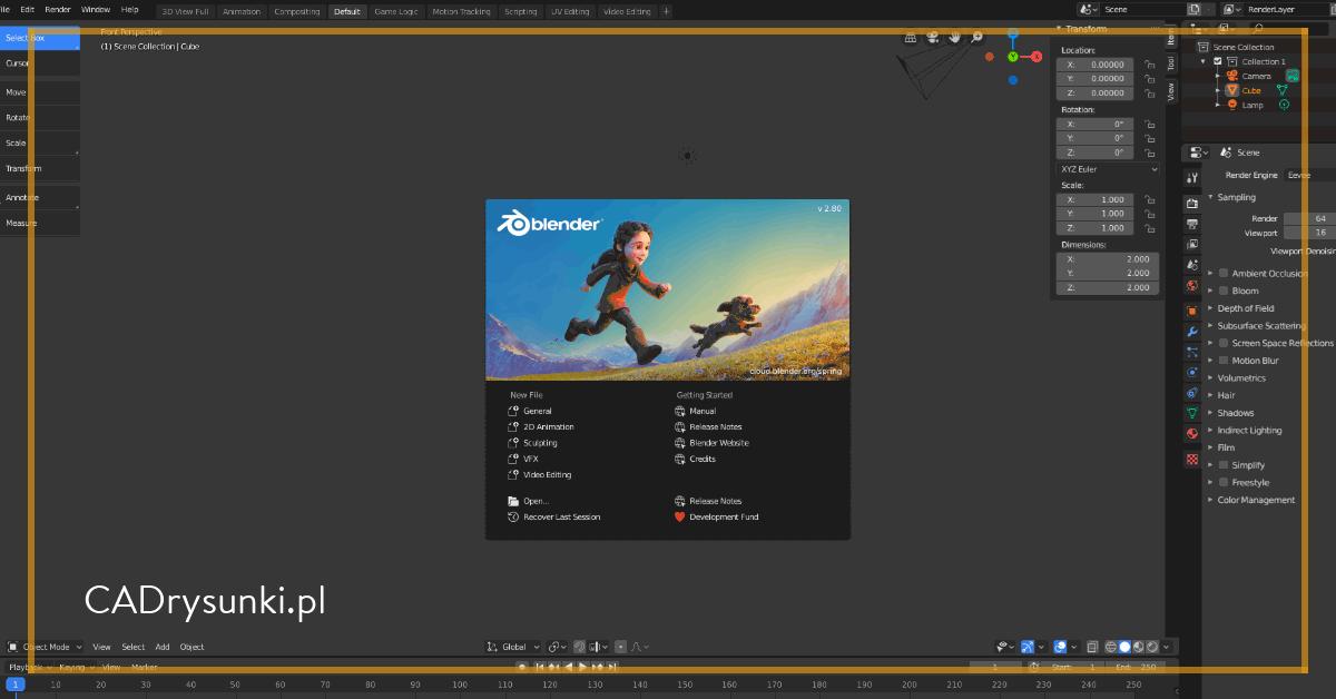Strona główna programu blender 3d który może służyć m.in do tworzenia projektów technicznych.