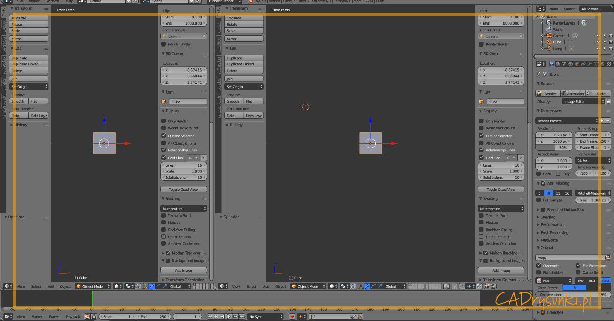 Grafika z widokiem ekranu podzielonego na dwie osobne części w programie blender.