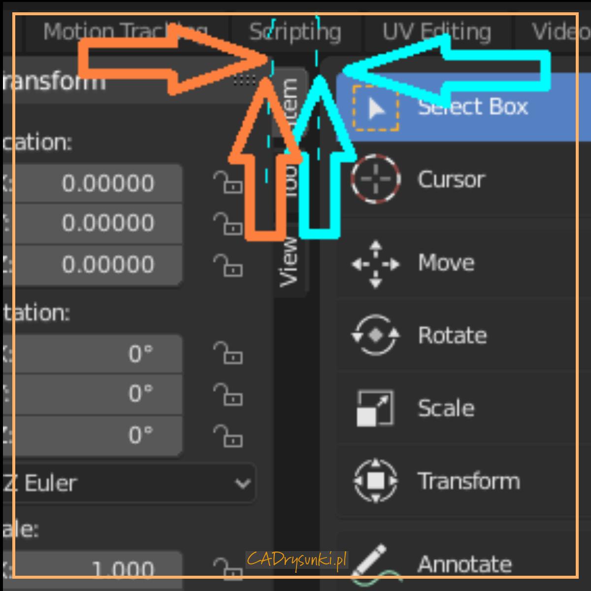 Określenie punktu na ekranie w którym należy ustawić kursor myszki aby zastosować fukcję podziału okna roboczego programu blender. Będziemy tworzyli nowe obszary robocze do pracy.