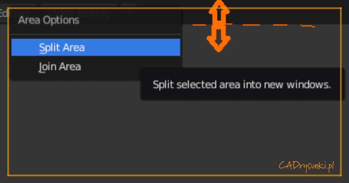 Wycinek okna pracy programu blender przedstawiający lokalizacje funkcji split area.