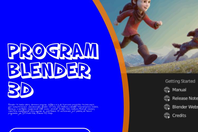 Opis programu i przedstawienie strony glownej blender 3d