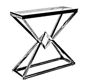 Toaletka meblowa typu industrialnego wykonana ze szklanego, przezroczystego blatu. Konstrukcja nóg jest połączeniem dwóch brył typu stożek wykonanych z profili stalowych.