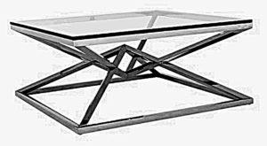Niski stolik kawywy do salonu z blatem wykonanym z przezroczystego szkła. Nogi stalowe chromowane kształtem imitujące dwie piramidy trójkątne.