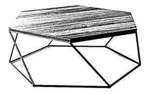 Nowoczesny niski stolik kawowy do salonu w kształcie sześciokąta. Blat wykonany z płyty meblowej a nogi z profili stalowych.