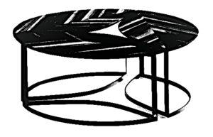 Stolik kawowy składający się z trzech modułów o takim samym kształcie i wielkości w kształcie liścia.