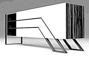 Komoda dekoracyjna industrialna w której nogi stalowe zdobią korpus drewniany na długości i szerokości skrzyni.