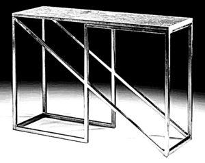 Stylowa konsola meblowa o konstrukcji stalowej z blatem drewnianym.