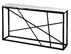Tania konsola olx o konstrukcji nóg metalowej i blatu drewnianego.