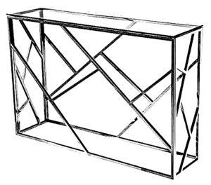 Konsola do salonu ze szklanym blatem i konstrukcji nóg z metalu szlachetnego.