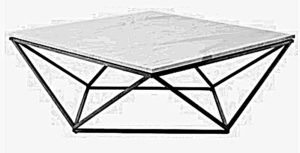 Stolik kawowy pięciokątny zrobiony z drewna i metalu
