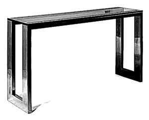 Konsola typu loft o prostej bryle z nogami stalowymi, metalowymi i blatem drewnianym w kolorze czarnym.