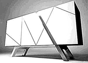 Komoda wykonana z białej płyty meblowej z nogami stalowymi chromowanymi.