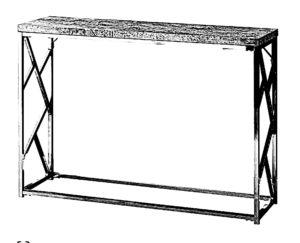 Wąski stolik nazywany konsolą meblową wykonany z połączenia drewna i stali.