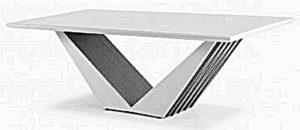 Stolik do kanapy wykonany z płyty mdf oklejonej okleiną drewnopodobną. Nogi wykonane z płyty meblowej w kształcie litery V.