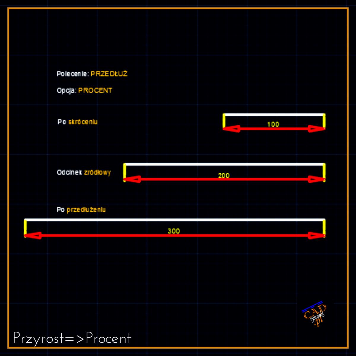Skalowanie linii o wyznaczony procent czyli wydluzanie lub skracanie w programie cad 2d.