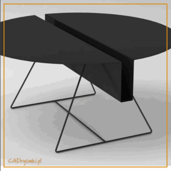 Stół obiadowy okrągły z blatem metalowym i nogami stalowymi. W blacie jest wyfrezowany schowek wzdłuż stołu.