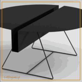 Mały stolik do kawy z nogami cienkimi ze stali oraz blatem metalowym ze schowkiem wzdłuż średnicy blatu.