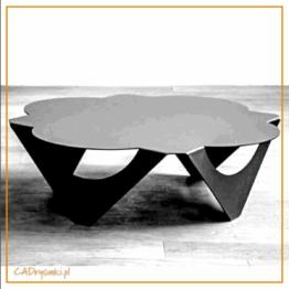 Metalowy, wykonany z blachy stół z blatem w kształcie koniczynki