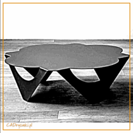 Stolik kawowy wykonany z jednego akrusza blachy