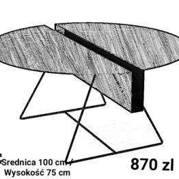 Stół, stolik kawowy, okrągły z metalowymi cienkimi i blatem stalowymnogami
