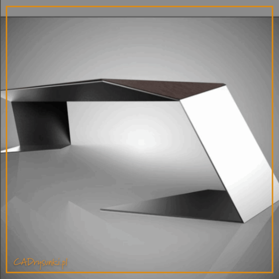 Biurko o kształcie trapezowym z nogami stalowymi pełzającymi po podłodze.