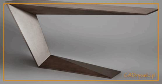 Biurko o jednej nodze wykonane ze stali i wykończone okleiną meblową