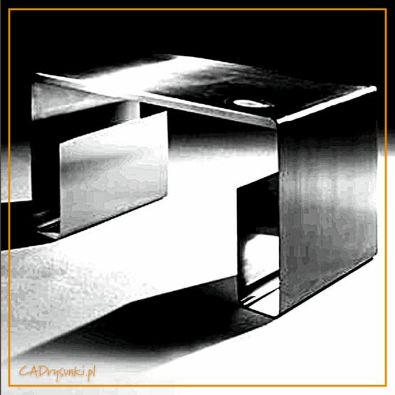 Biurko komputerowe wykonane z jednego arkusza blachy odpowiednio giętego. Posiada dwie kieszenie w boczej części nogi od wewnątrz.