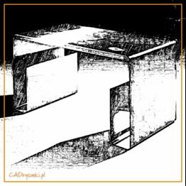 Biurko komputerowe wykonane z jednego elementu grubej blachy. Nogi oraz schowek przy nogach tworzą jedną powierzchnię.