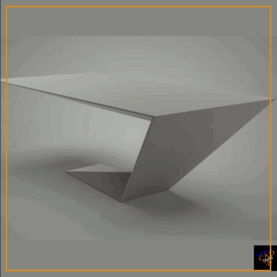 Biurko wykonane z grubej blachy z jedną pochyloną nogą. Dzięki temu jest zapewniona wygoda i wygląd geometrycznego mebla.