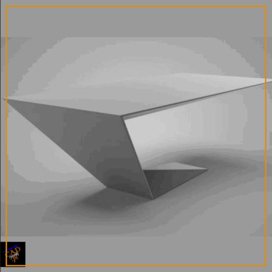 Biurko o jednolitej konstrukcji wykonane z metalu z jedną nogą pod kątem do podstawy.