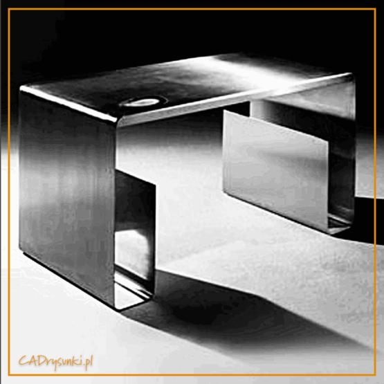 Nowoczesne biurko komputerowe wykonane z jednego arkusza grubej blachy. Po wewnętrznej stronie nóg są pionowe kieszenie np na zazety, komputer