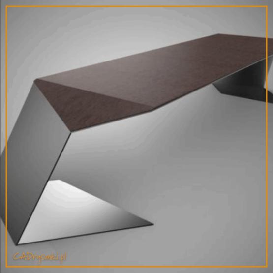 biruko o minimalistycznym kształcie z nogami giętymi stalowymi pełnymi oraz blatem z litego drewna