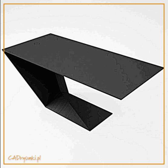 Burko o geometrycznym kształcie przypominające literę C. Blat i podstawa połączona pod kątem 45 stopni.