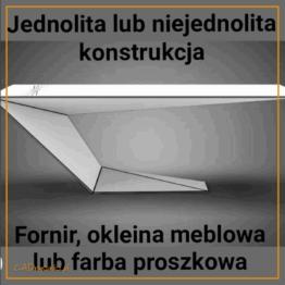 Reprezentatywne biurko gabinetowe wykonane w całości ze stali i wykończone fornirem, okleiną meblową lub farbą. Podstawa składa się z jednej dużej nogi pochylonej pod kątem do podstawy i blatu.