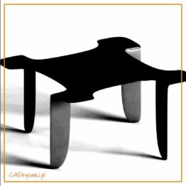 Niski stolik barowy z metalowymi giętymi z blachy nogami i kwadratowym blatem.