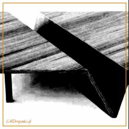 Niski kwadratowy stolik z kieszenią w postaci schowka wzdłuż blatu.