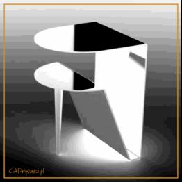 Półokrągłe biurko dla kobiety nowoczesnej wykonane z blachy stalowej