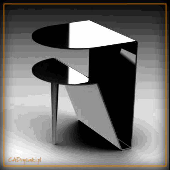 Biurko za sofą z półokrągłym blatem i półką
